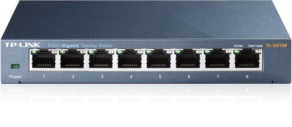 TP-LINK Switch TL-SG108, 8 port, 10/100/1000 Mbps, Steel Case